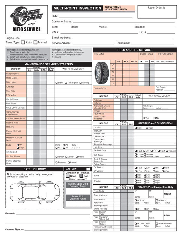 coker tire auto service center form